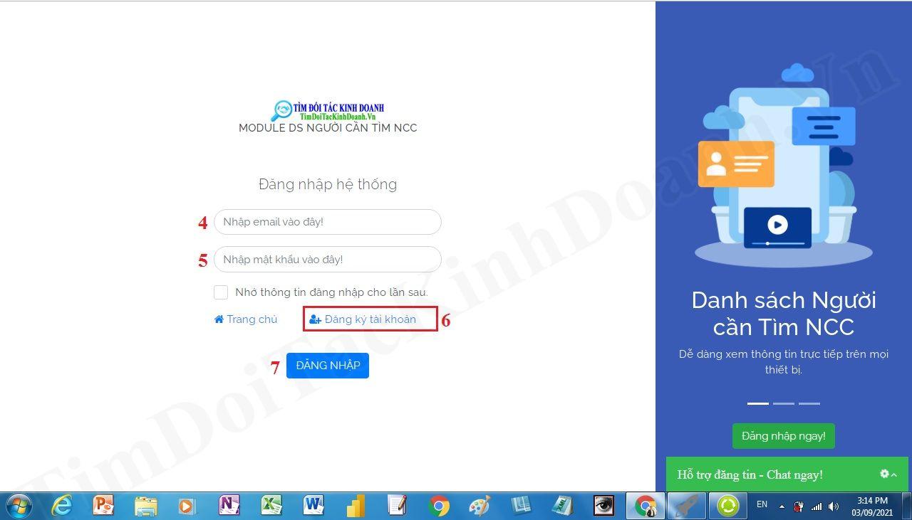 đăng nhập vào hệ thống tìm đối tác kinh doanh